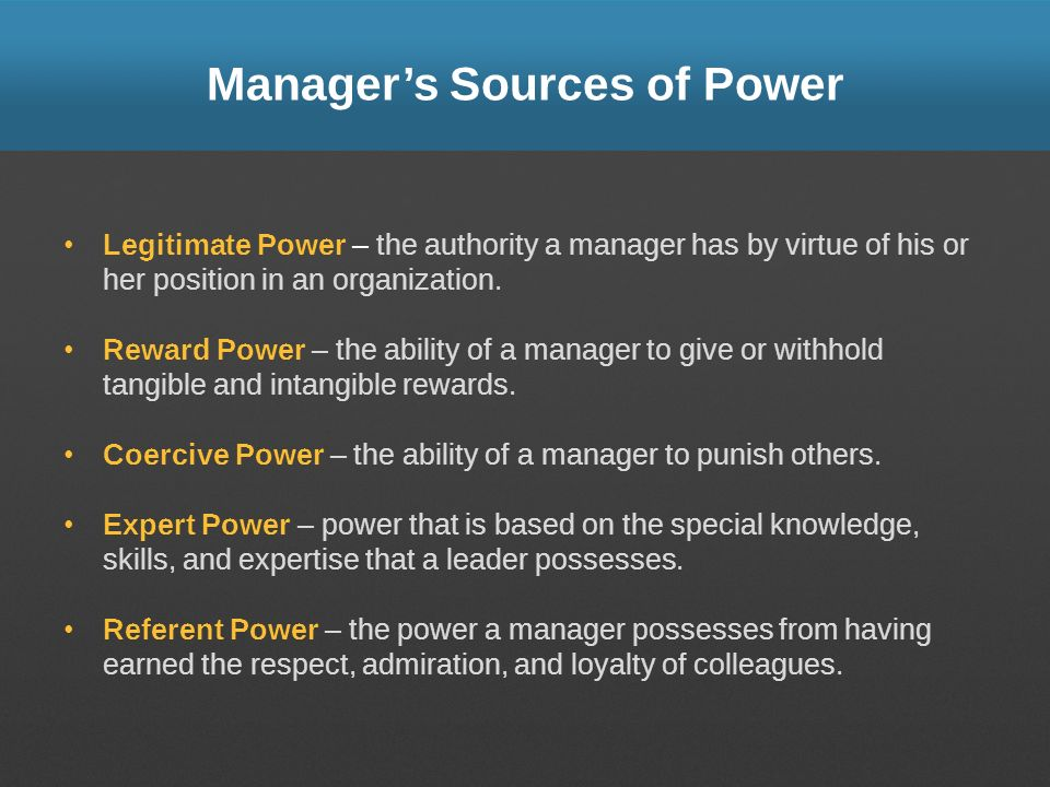 Manager's Sources of Power