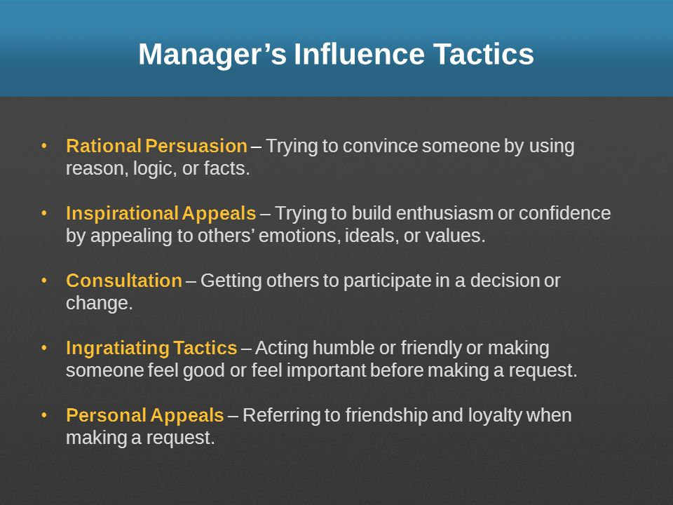 Manager's Influence Tactics