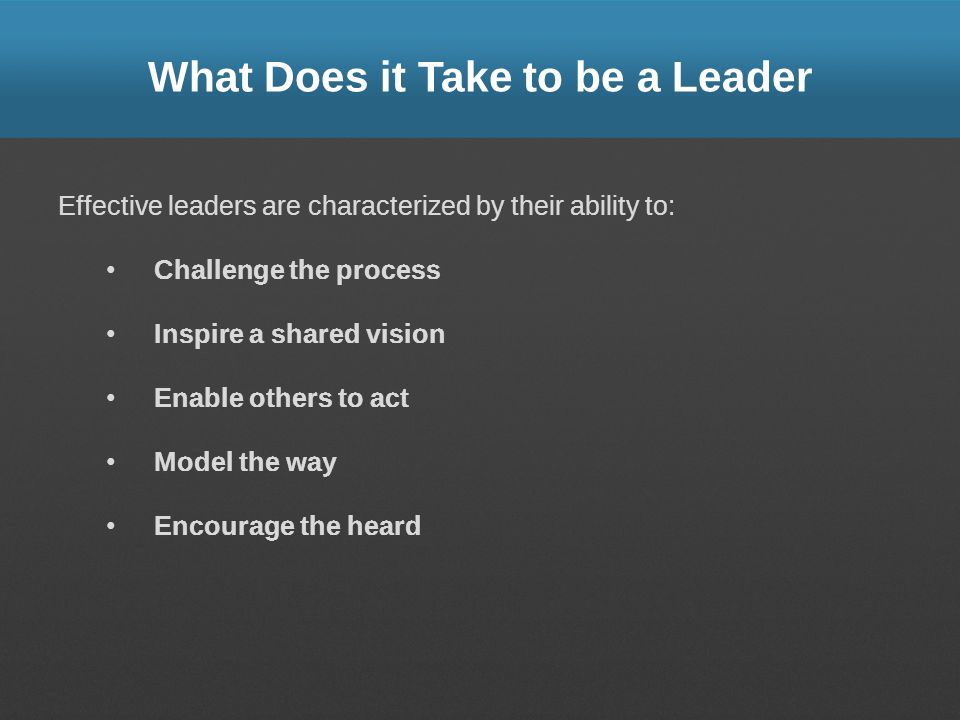 What Does it Take to be a Leader