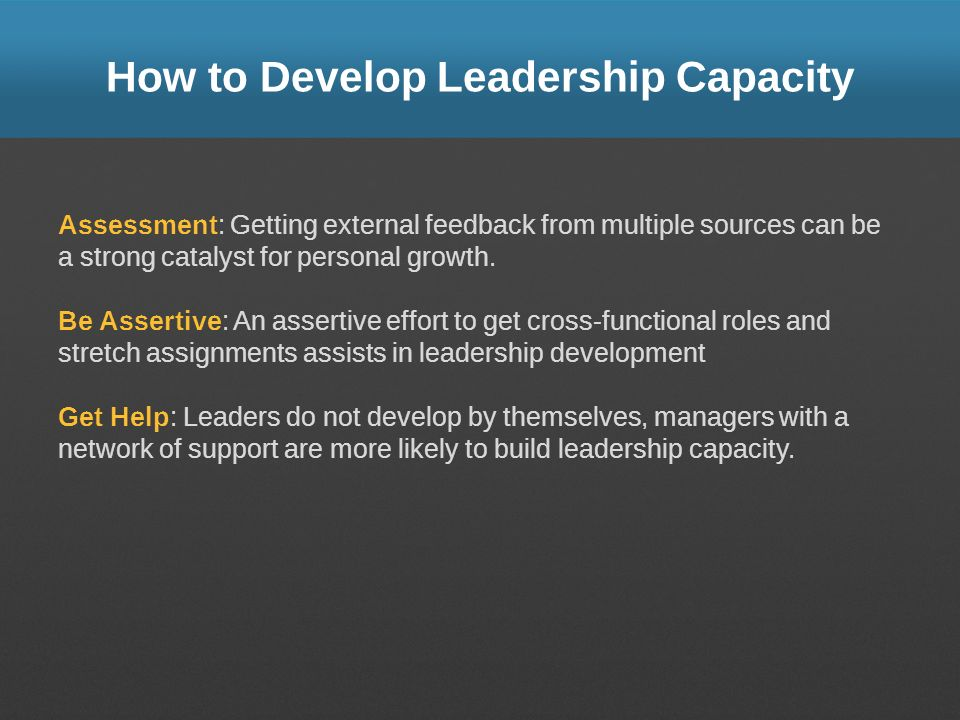 How to Develop Leadership Capacity