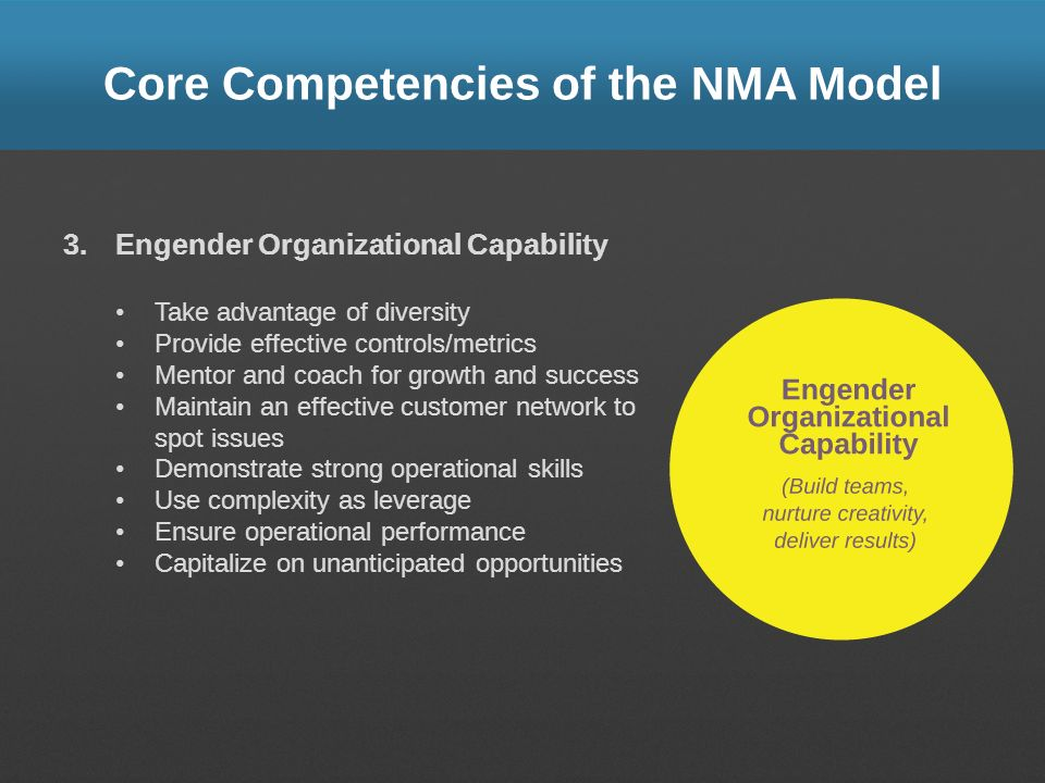 Core Competencies of the NMA Model