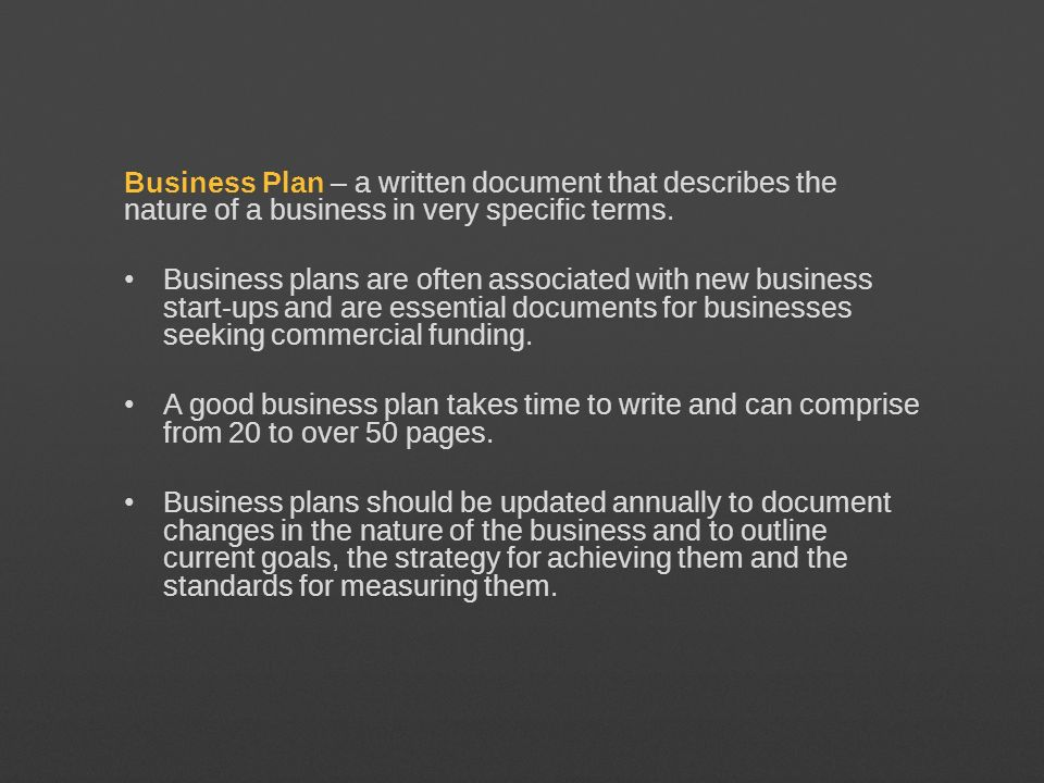 Business Plan – a written document that describes the nature of a business in very specific terms.