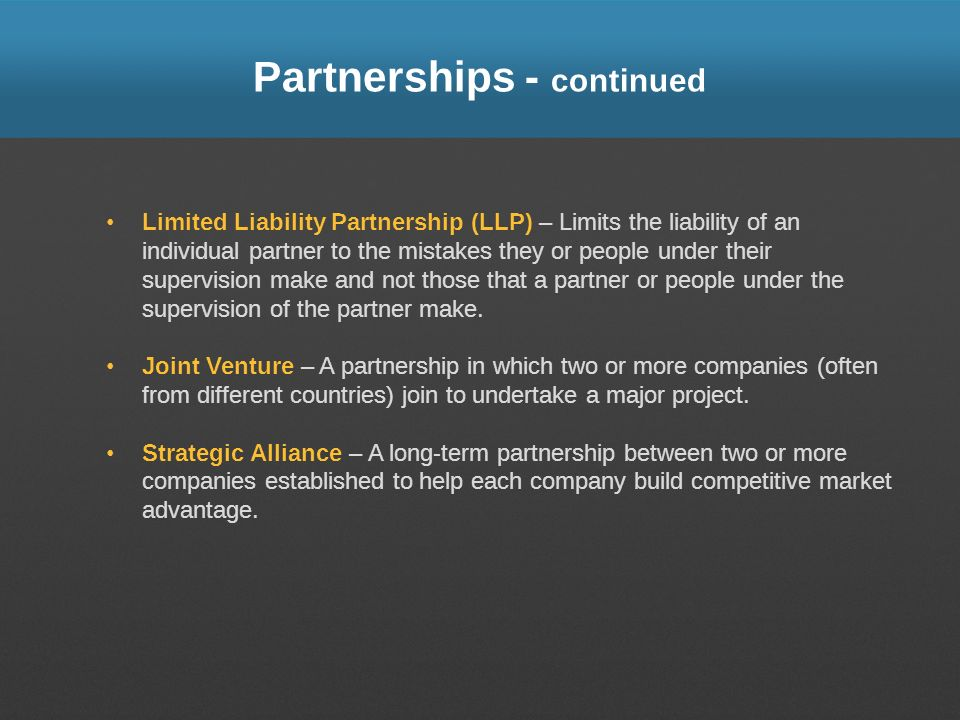 Partnerships - continued