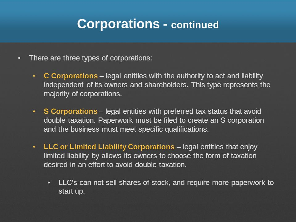 Corporations - continued