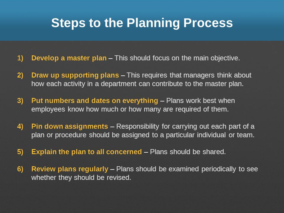 Steps to the Planning Process