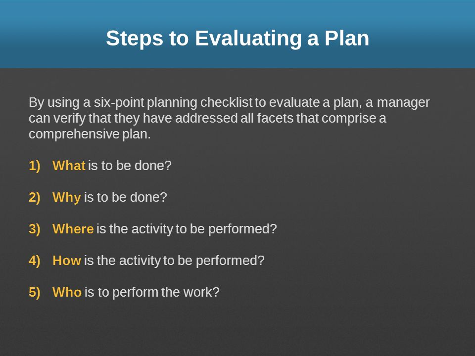 Steps to Evaluating a Plan