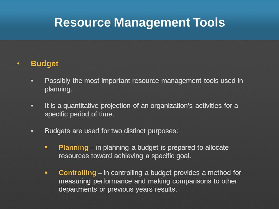 Resource Management Tools