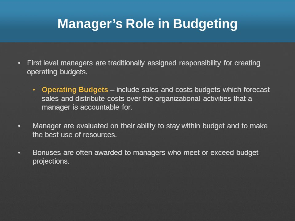 Manager's Role in Budgeting