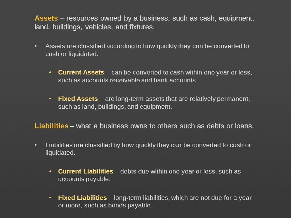 Liabilities – what a business owns to others such as debts or loans.
