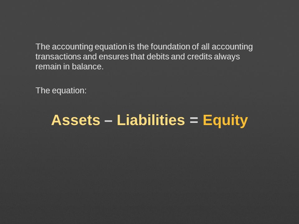 Assets – Liabilities = Equity