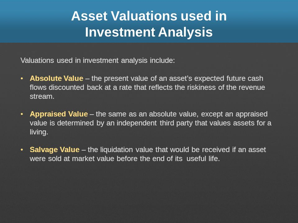 Asset Valuations used in Investment Analysis
