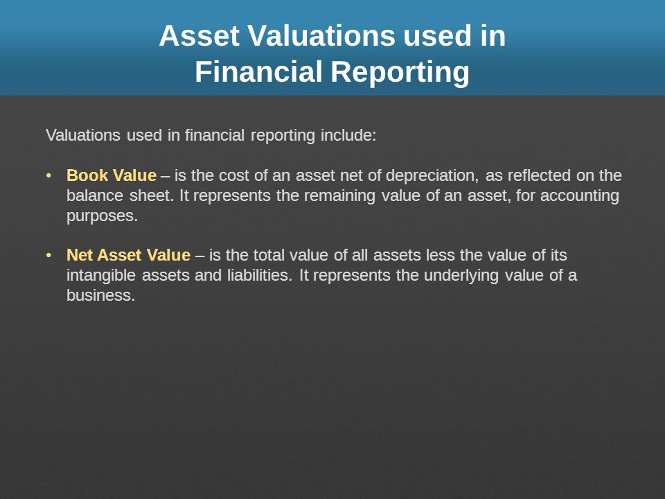Asset Valuations used in Financial Reporting