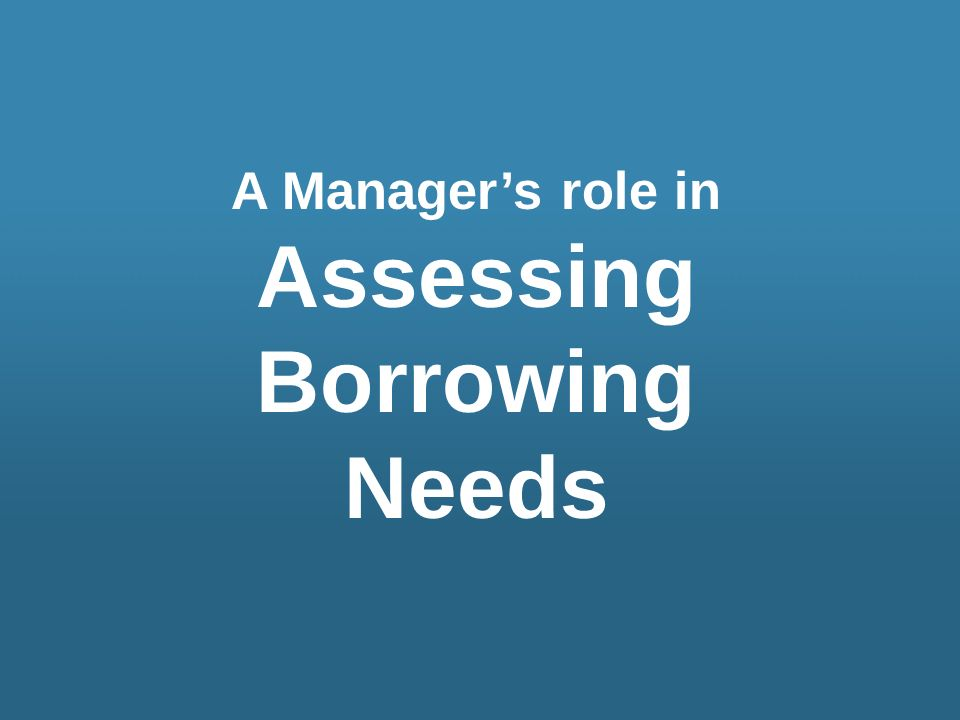 Assessing Borrowing Needs