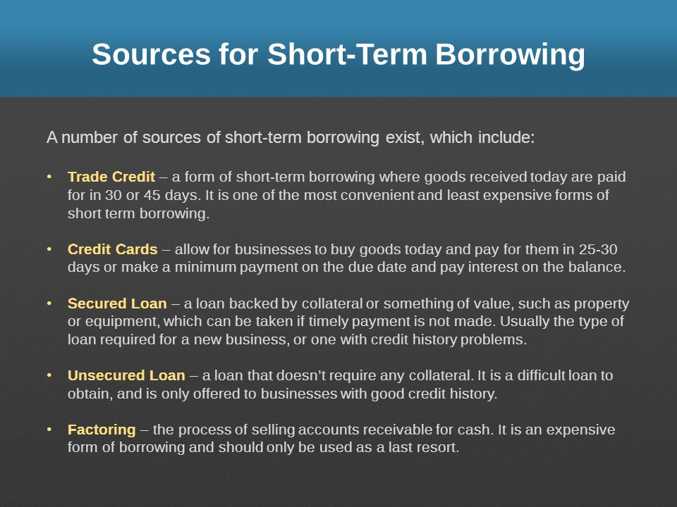 Sources for Short-Term Borrowing