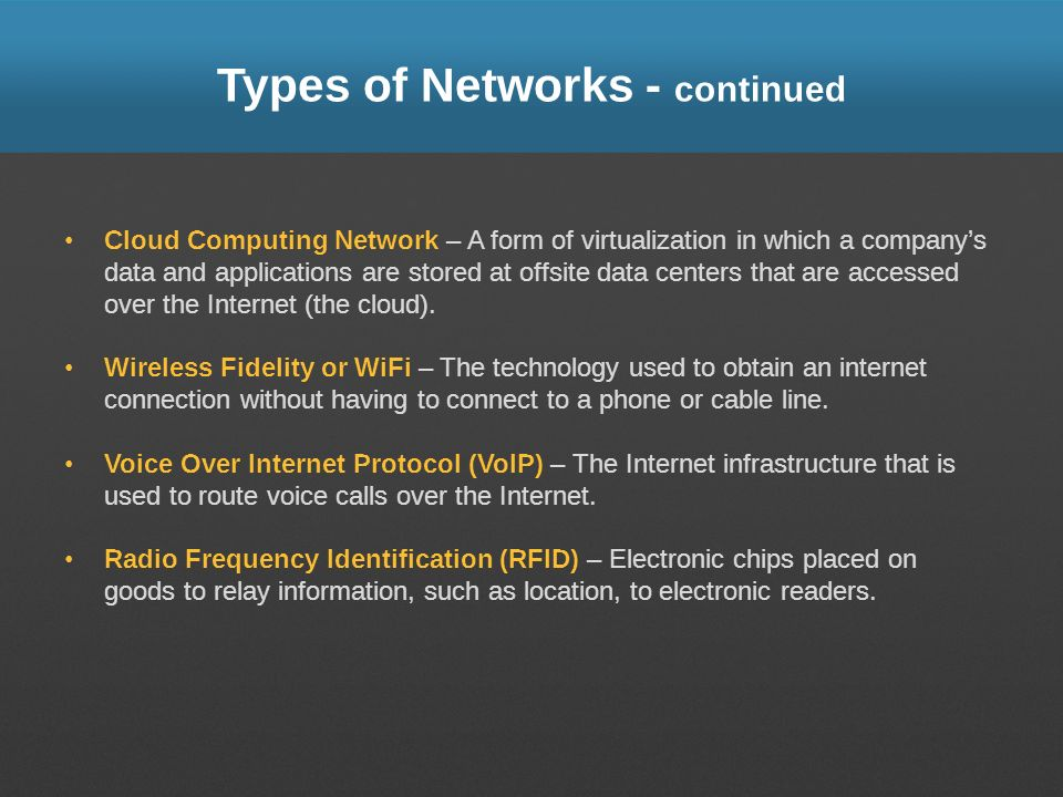 Types of Networks - continued