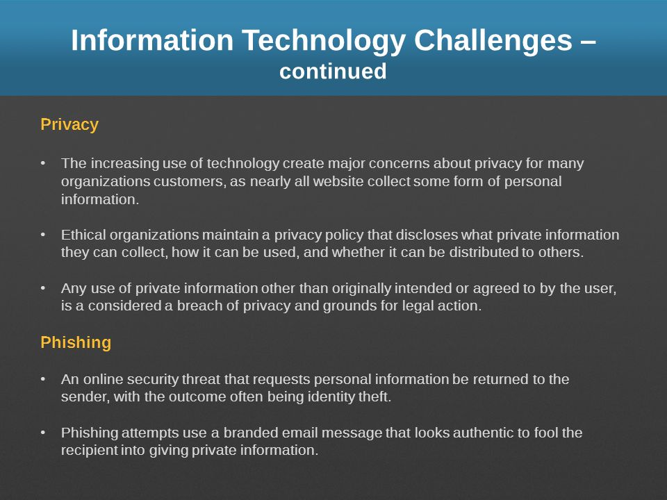 Information Technology Challenges – continued