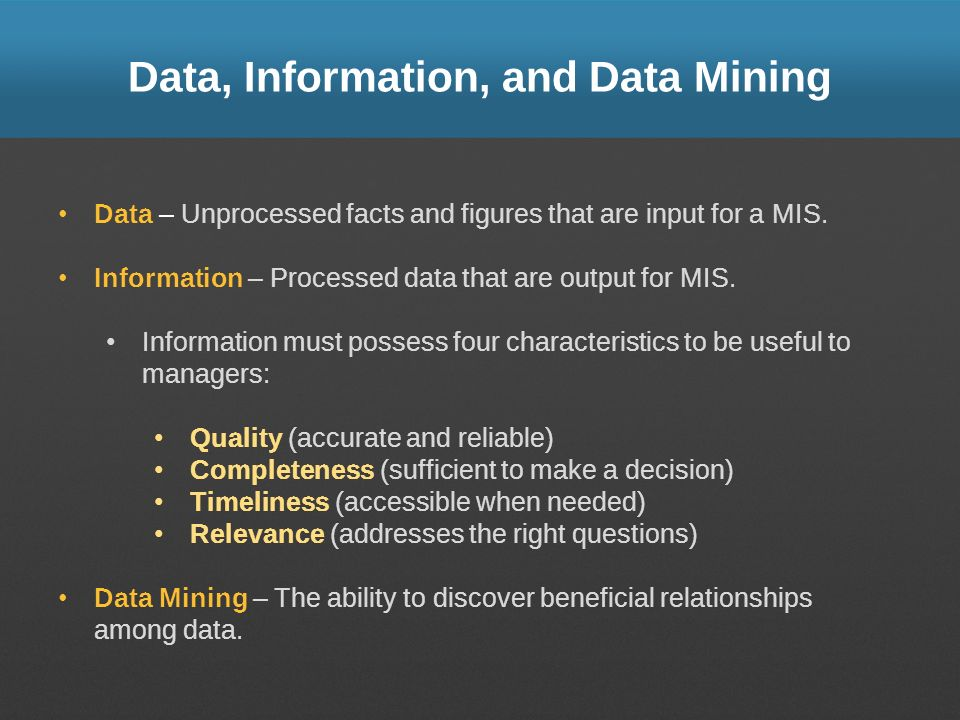 Data, Information, and Data Mining