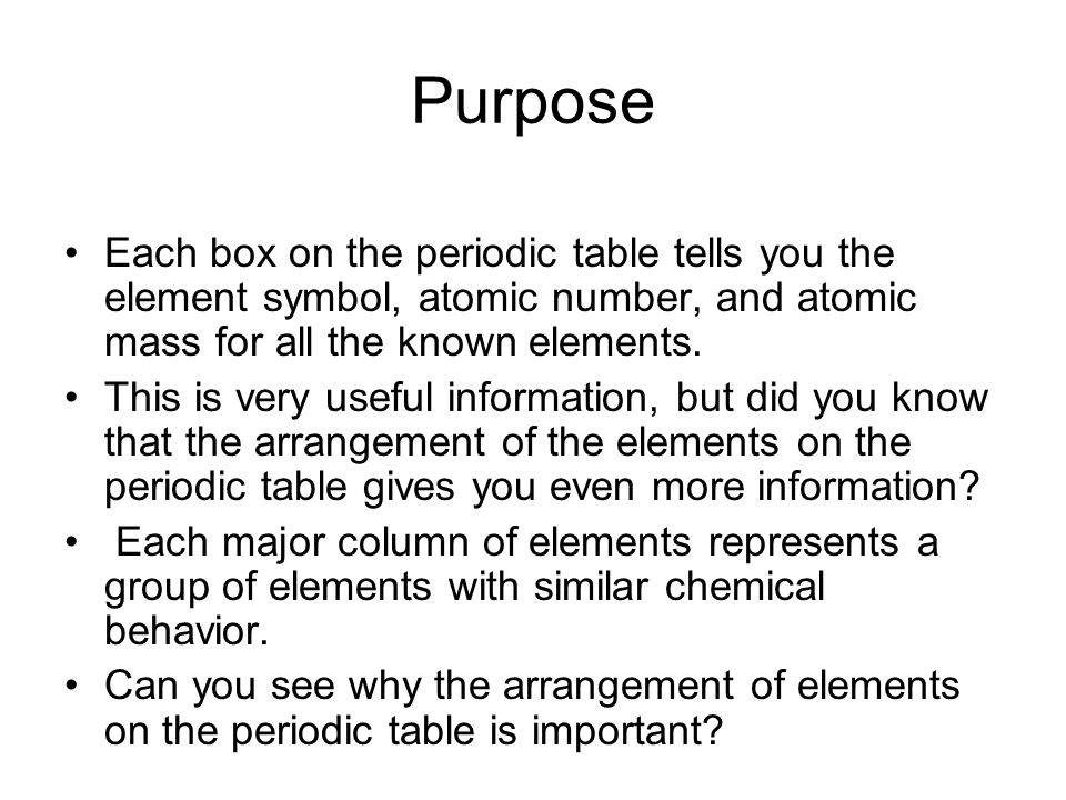 Pre lab 15b periodic table challenge ppt video online download purpose each box on the periodic table tells you the element symbol atomic number urtaz Choice Image
