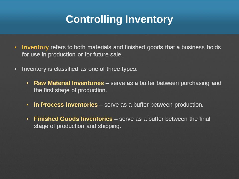 Controlling Inventory