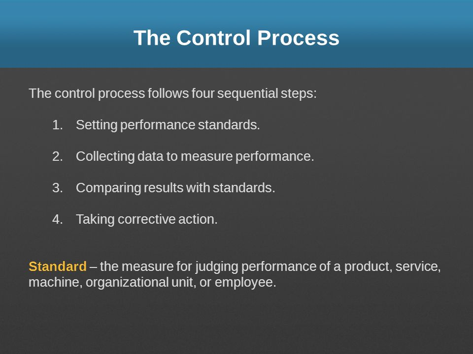 The Control Process The control process follows four sequential steps: