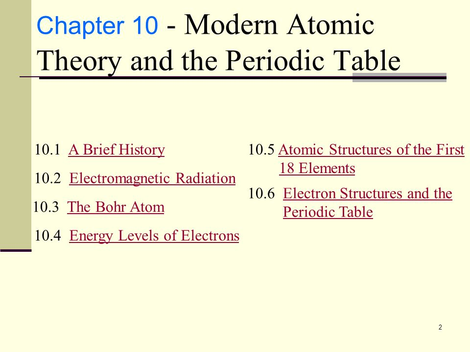 Modern atomic theory and the periodic table chapter ppt video online chapter 10 modern atomic theory and the periodic table urtaz Image collections