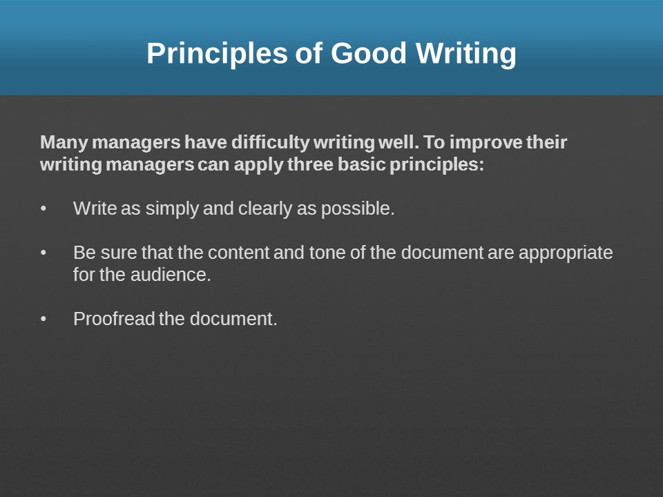 principles good writing Principles for writing good questions there follows some advice on best practice  for constructing some common question types suggestions for writing good.