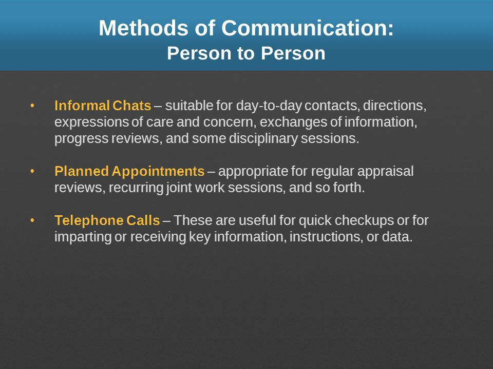 Methods of Communication: Person to Person