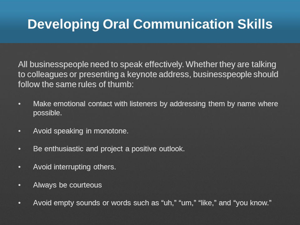 Developing Oral Communication Skills