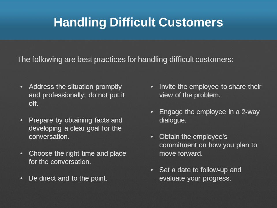 Handling Difficult Customers