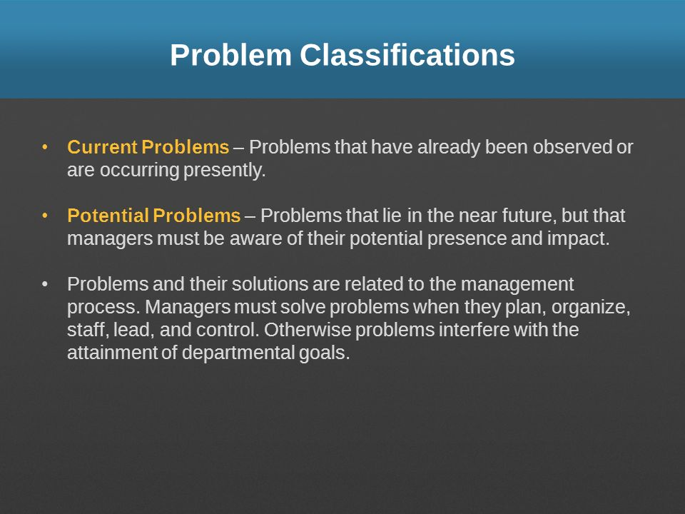 Problem Classifications