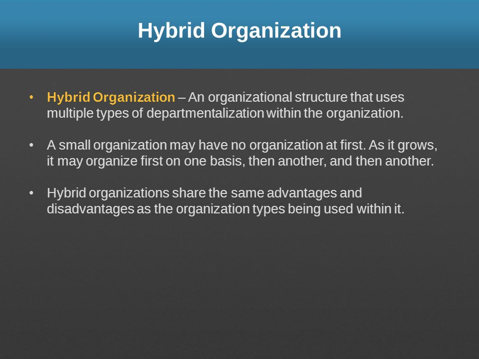 Hybrid Organization Hybrid Organization – An organizational structure that uses multiple types of departmentalization within the organization.