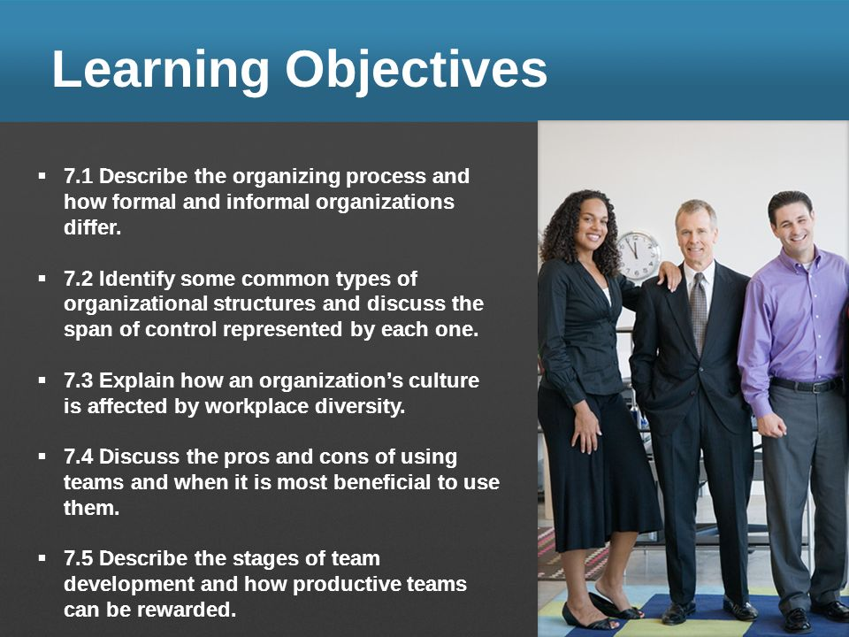 Learning Objectives 7.1 Describe the organizing process and how formal and informal organizations differ.