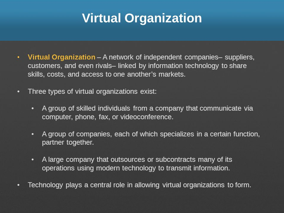 virtual organizations the benefits problems the A vpn (virtual private network) - is one solution to establishing long-distance and/or secured network connections vpns are normally implemented (deployed) by businesses or organizations rather than by individuals, but virtual networks can be reached from inside a home network compared to other .