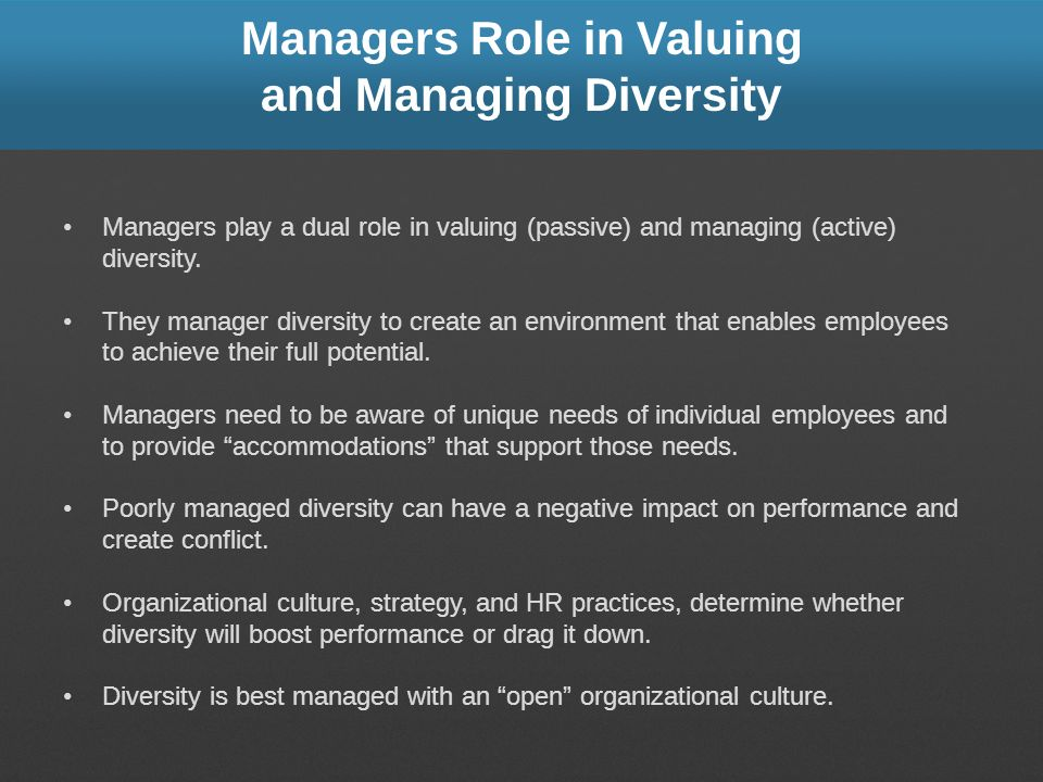 Managers Role in Valuing and Managing Diversity