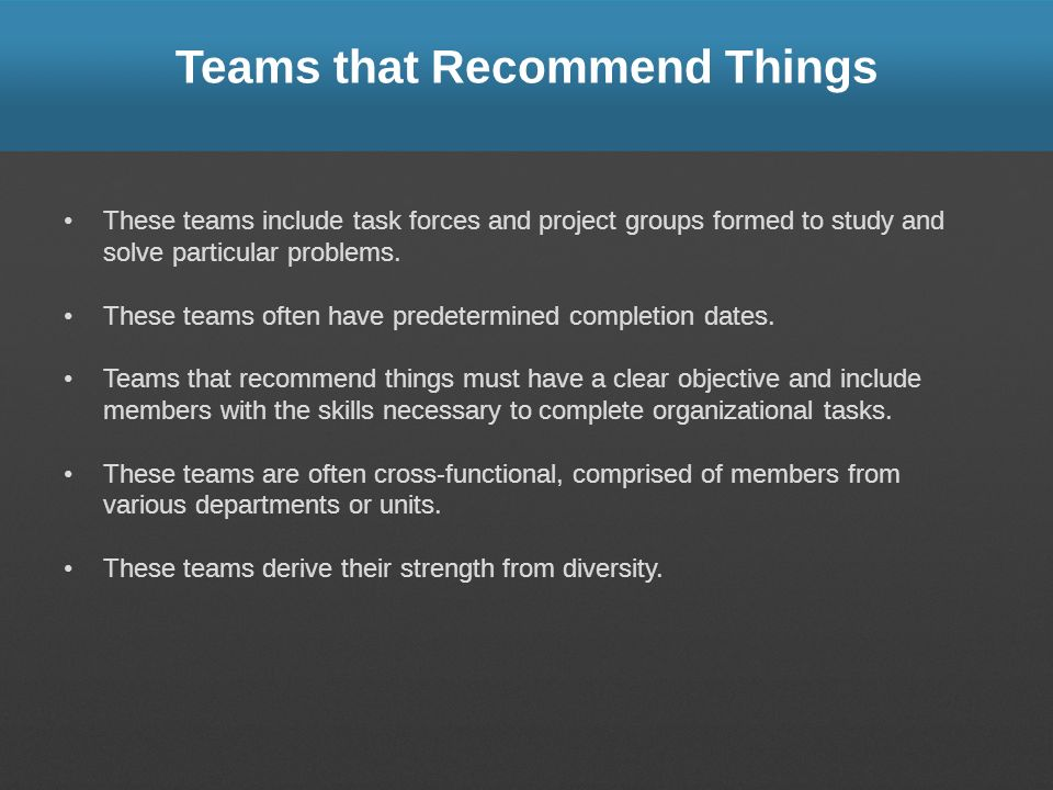 Teams that Recommend Things