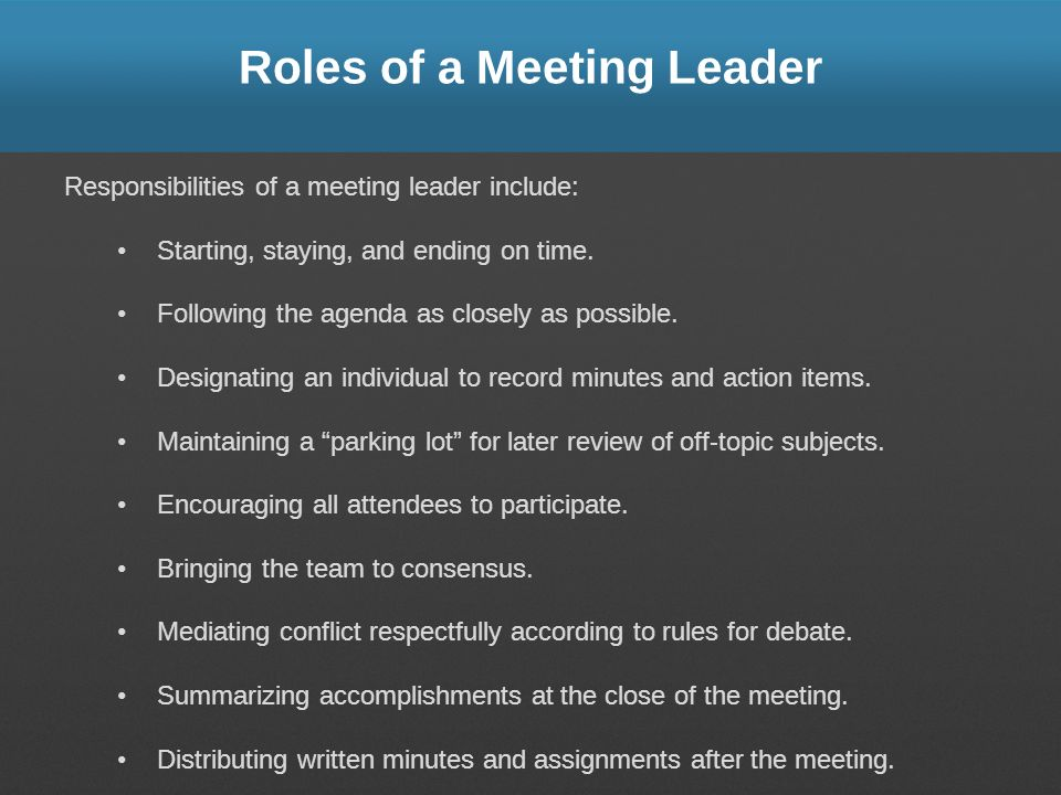 Roles of a Meeting Leader