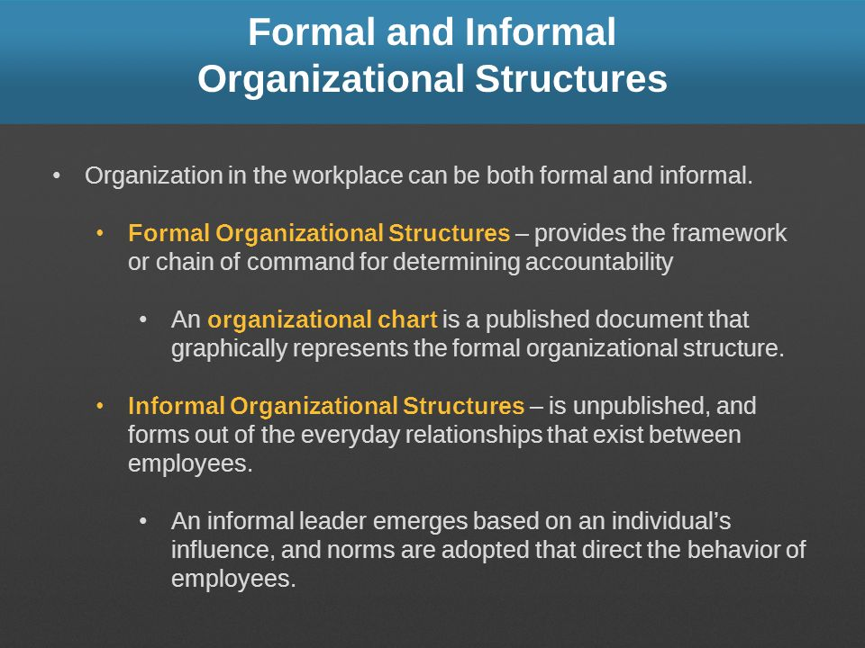 Formal and Informal Organizational Structures