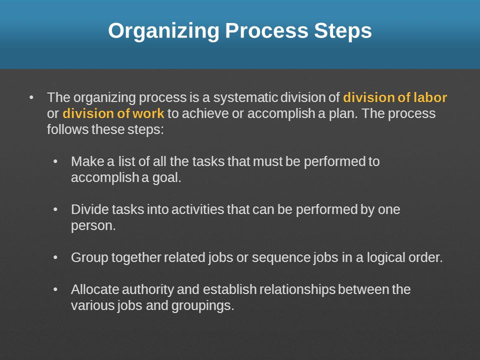 Organizing Process Steps