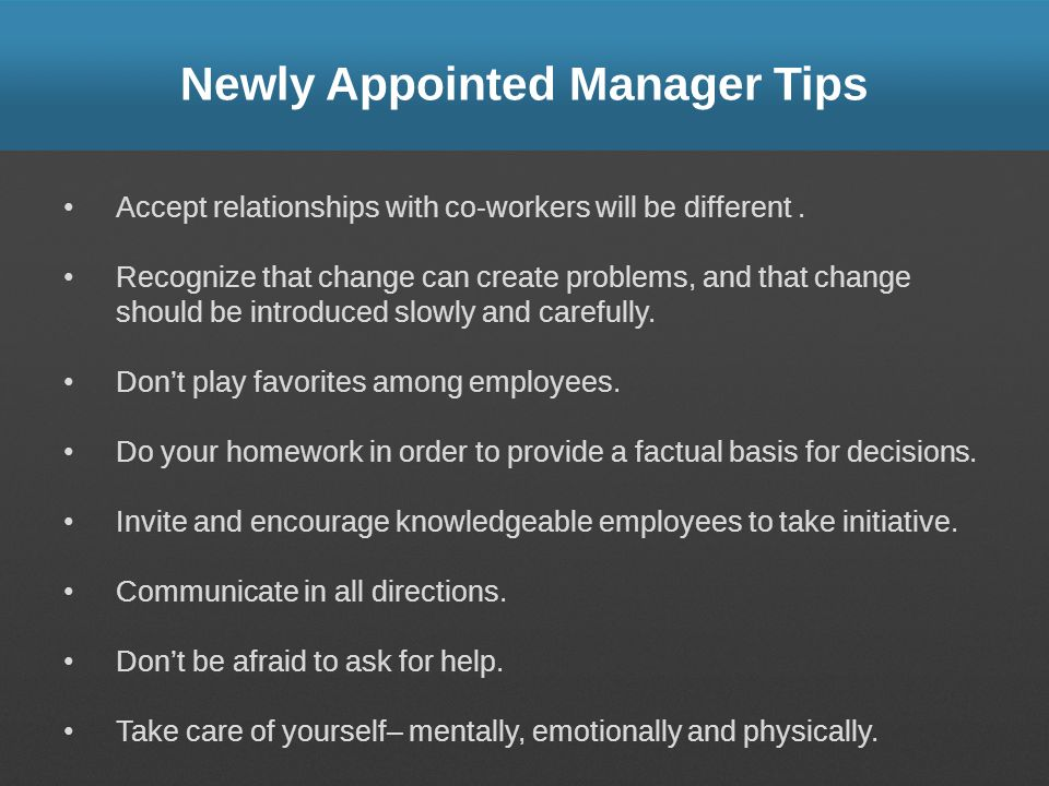 Newly Appointed Manager Tips