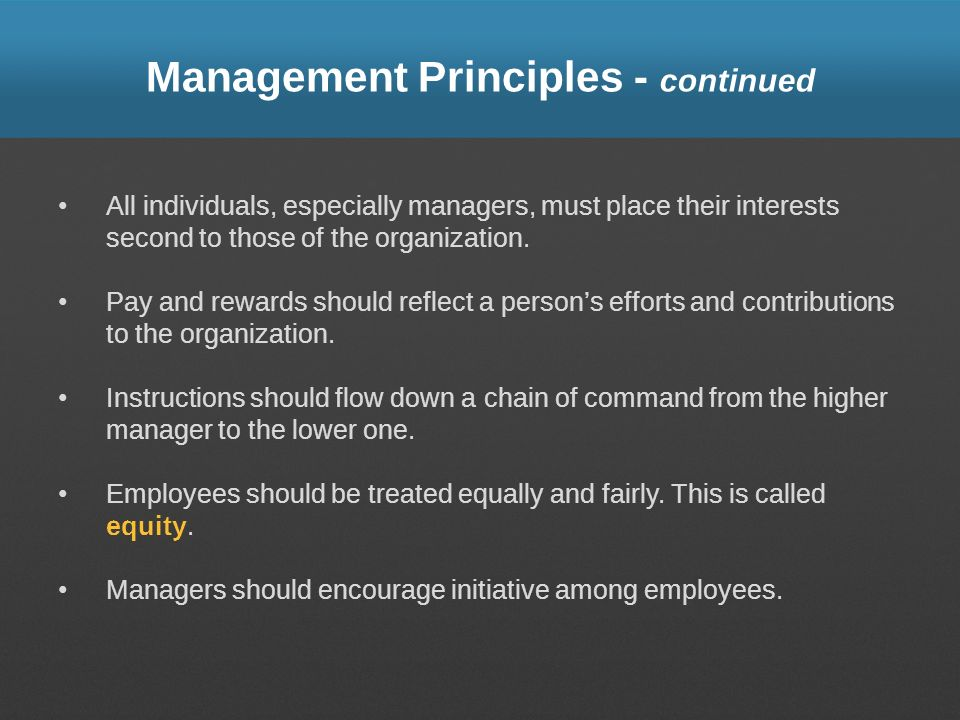 Management Principles - continued
