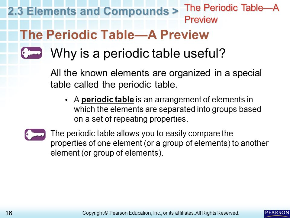 The Periodic Table—A Preview Why is a periodic table useful