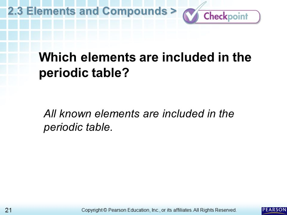 Which elements are included in the periodic table