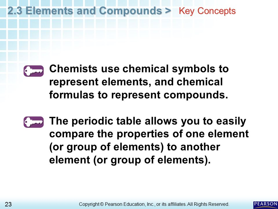Key Concepts Chemists use chemical symbols to represent elements, and chemical formulas to represent compounds.