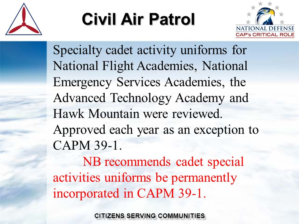 civil air patrol emergency services powerpoint Cap mission aircrew scanner course introduction administrative items capr 60-series review mission scanner requirements trainee qualified general emergency services (ges) at least 18 years of age (minimum should be mature ) 101t-ms familiarization and preparatory training commanders authorization.