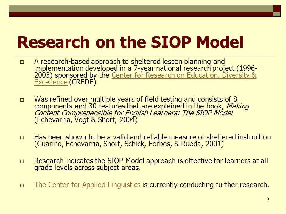 Research on the SIOP Model