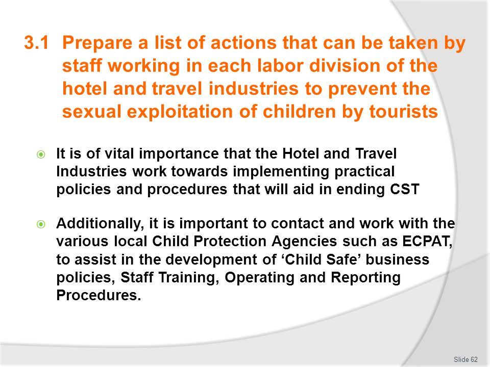 31 Prepare A List Of Actions That Can Be Taken By Staff Working In Each Labor