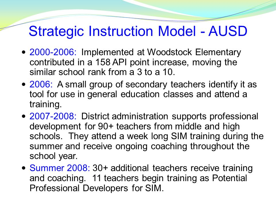 Strategic Instruction Model - AUSD