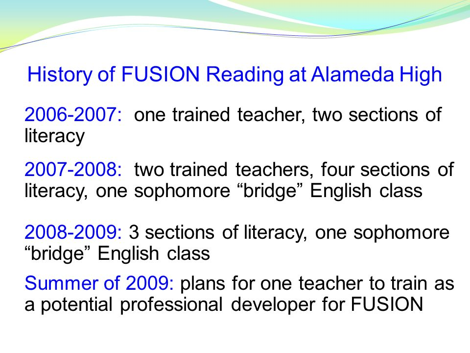 History of FUSION Reading at Alameda High