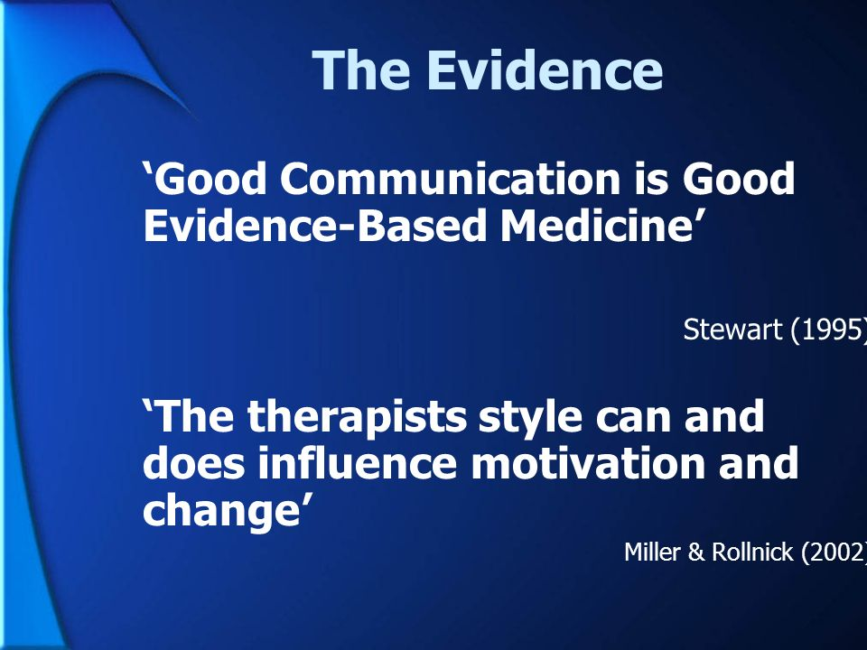 The Evidence 'Good Communication is Good Evidence-Based Medicine'