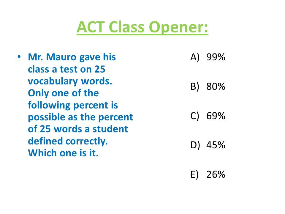ACT Class Opener: